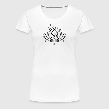 Lotus flower, Yoga with om symbol  - Women's Premium T-Shirt