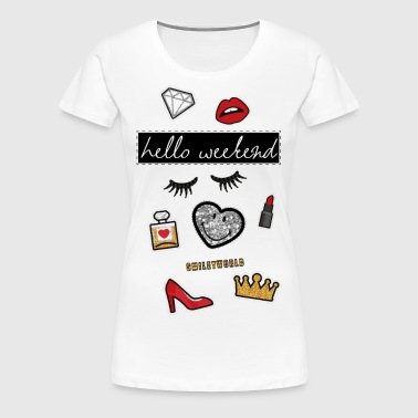 Smiley World Hello Weekend Fake Patches - Vrouwen Premium T-shirt