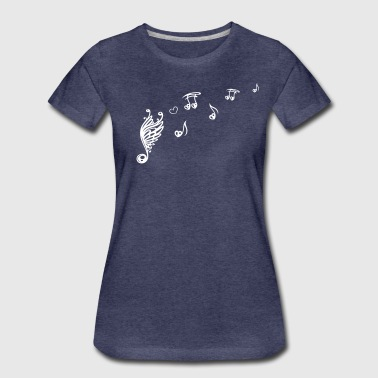 Music note with wings and heart. - Women's Premium T-Shirt