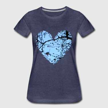 Heart with tree branches and blue sky, love t-shirt - Women's Premium T-Shirt
