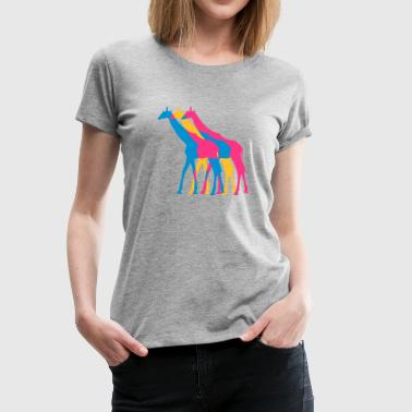 Colorful Serengeti 3 Giraffes outline colors colorful walking design - Women's Premium T-Shirt