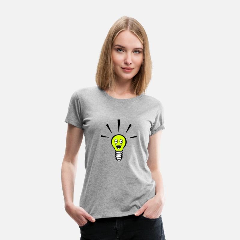 Hehkulamppu T-paidat - Light bulb with smiley - big idea - Naisten premium t-paita harmaasävyinen