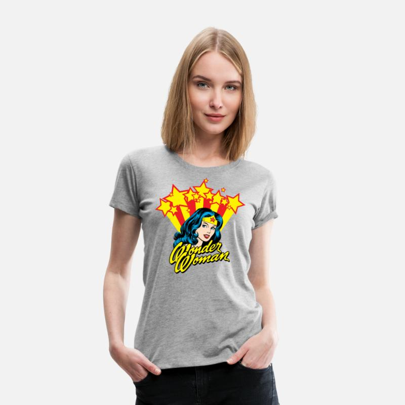 Officialbrands T-shirts - Wonder Woman Étoile Femme Tee Shirt - T-shirt premium Femme gris chiné