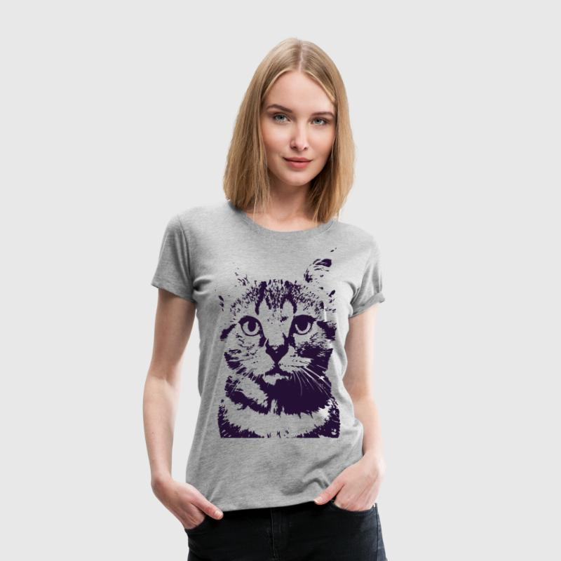 Space Cat Navy Stencil - Women's Premium T-Shirt