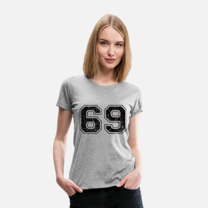 Vintage T-Shirts - Number 69 in the grunge look - Women's Premium T-Shirt heather grey