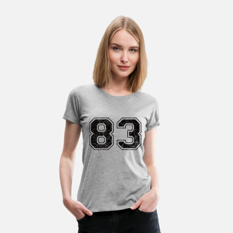 1983 T-Shirts - Number 83 in the grunge look - Women's Premium T-Shirt heather grey
