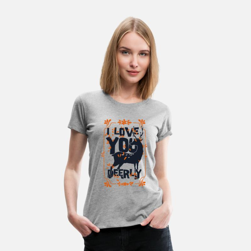 Valentine's Day T-Shirts - I love you deer - love deer animal - Women's Premium T-Shirt heather grey