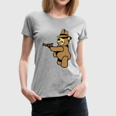 Teddy bear gangster gun Hat - Women's Premium T-Shirt