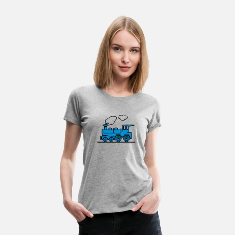 Conduire T-shirts - Locomotive à vapeur train chemin de fer - T-shirt premium Femme gris chiné