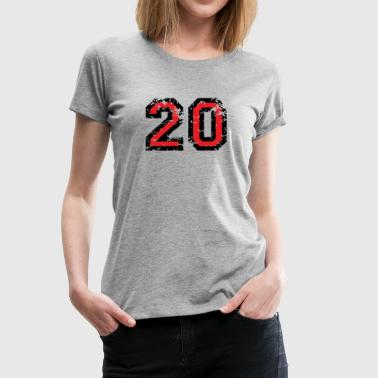 The Number Twenty - No. 20 (two-color) red - Women's Premium T-Shirt