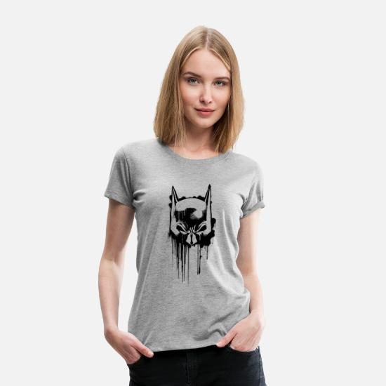 Officialbrands T-Shirts - Batman Maske T-Shirt für Frauen , Superhelden T-Shirt - Frauen Premium T-Shirt Grau meliert