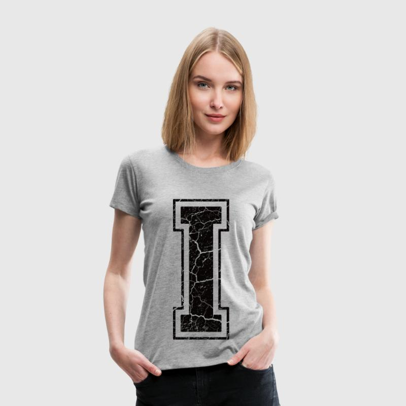 Letter I in the grunge look - Women's Premium T-Shirt