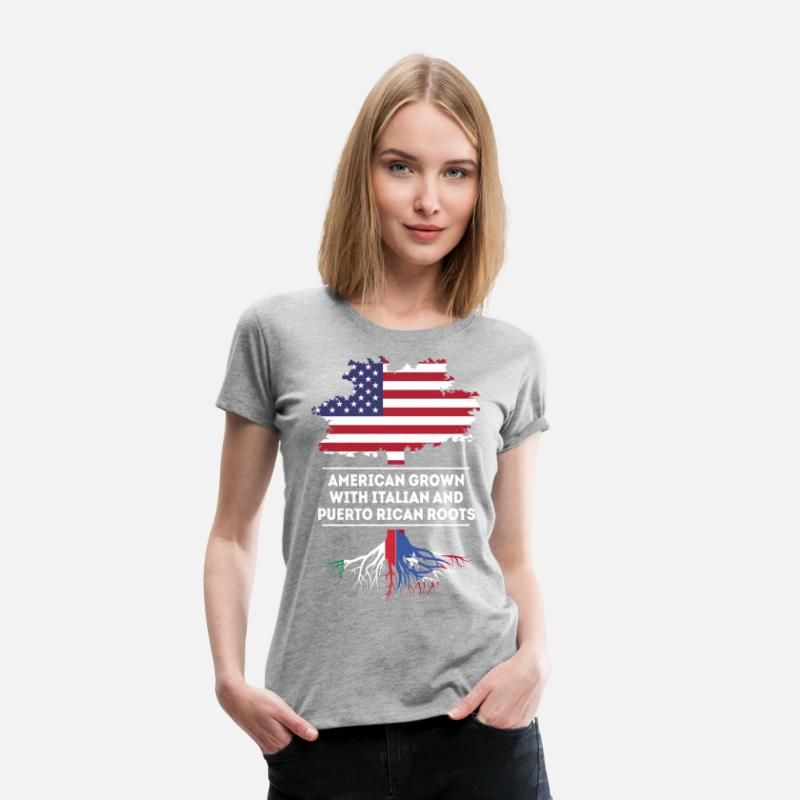 Puerto Rican American T-Shirts - Italian and Puerto Rican Roots T-shirt - Women's Premium T-Shirt heather grey
