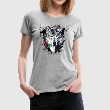 Loup Wolf with Rose, Love Symbol, Loup, Freedom,  - T-shirt Premium Femme