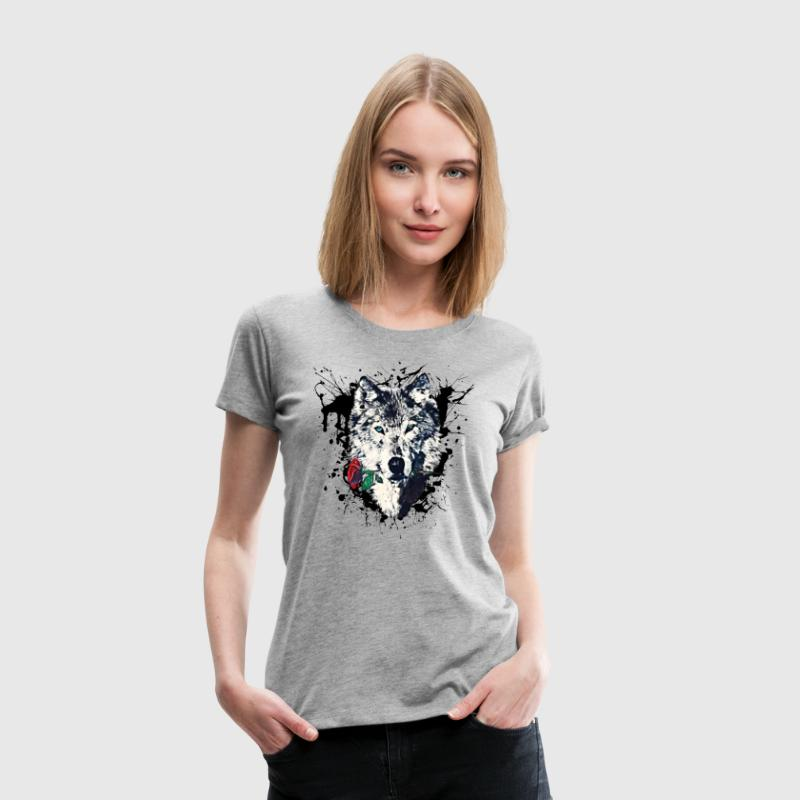 Wolf with Rose, Love Symbol, Wolves, Freedom,  - Women's Premium T-Shirt