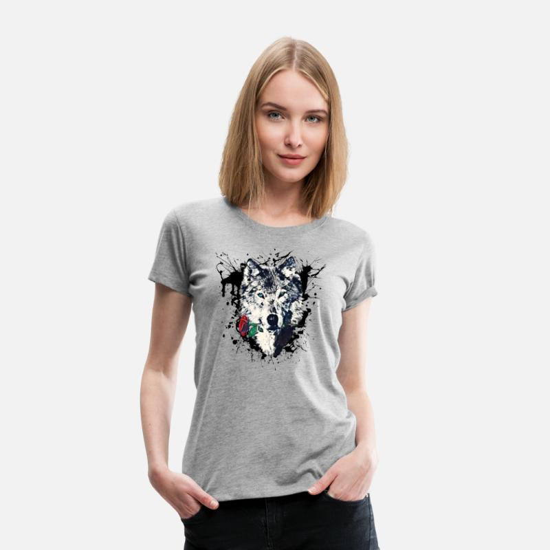 Loup T-shirts - Wolf with Rose, Love Symbol, Loup, Freedom,  - T-shirt premium Femme gris chiné