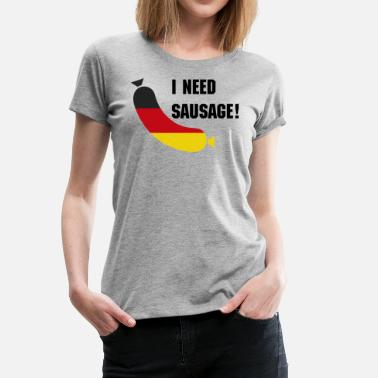 German Flag German flag in a sausage - Deutsche wurst - Women's Premium T-Shirt