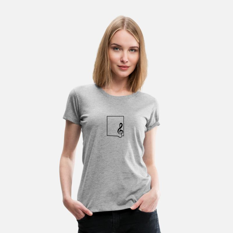 Bass Clef T-Shirts - Clef music frame border - Women's Premium T-Shirt heather grey