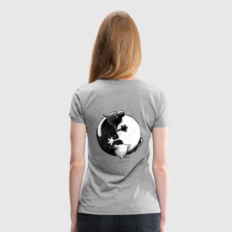 Black and White - Yin Yang - Chats - T-shirt Premium Femme