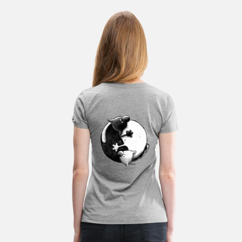 "Cat T-Shirts - ""Black and White"" - Yin Yang - Cats - Women's Premium T-Shirt heather grey"