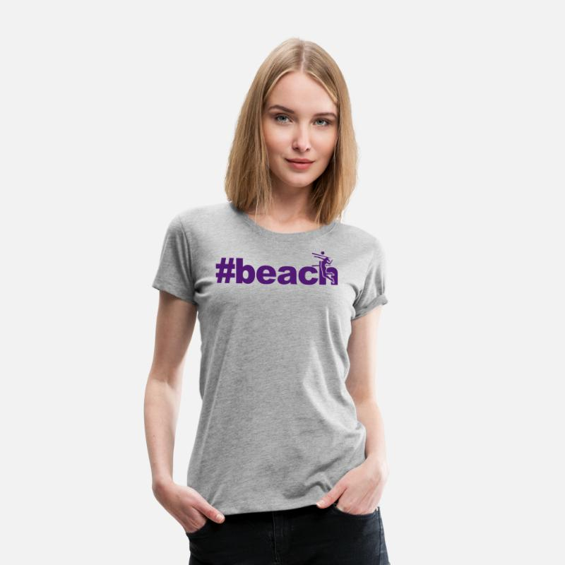 Beach Volleyball T-Shirts - beach woman network xxx - Women's Premium T-Shirt heather grey