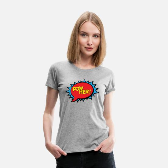 Popart T-Shirts - Power her Frau Energie Kraft Pop Art Comic Style - Frauen Premium T-Shirt Grau meliert