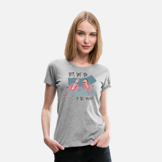 Spa T-Shirts - Rick and Morty Best Day Spa In The Galaxy - Frauen Premium T-Shirt Grau meliert