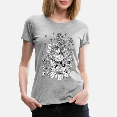 Bees Wild flowers with bees - Women's Premium T-Shirt