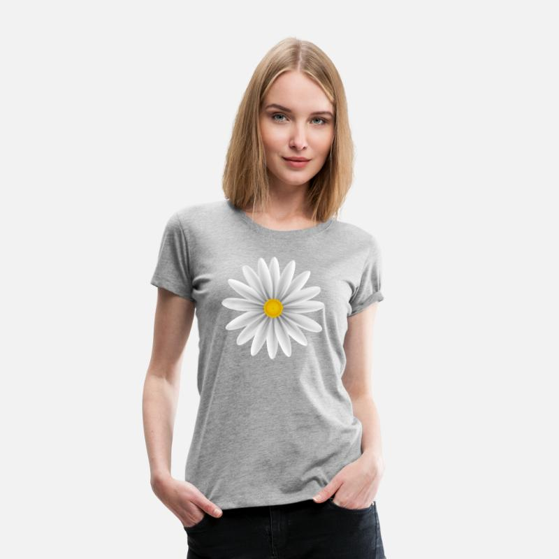 Bestsellers Q4 2018 T-Shirts - White Daisy Top Down - Women's Premium T-Shirt heather grey