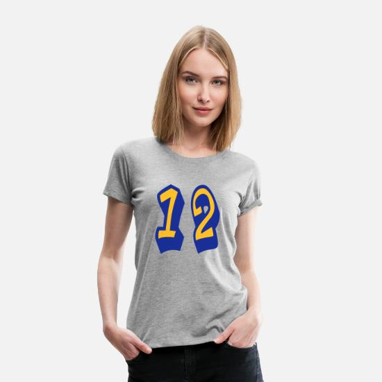 Most Loved Cool Numbers Vector Design For Favorite Number Clothes Cool Gym T Shirts T-Shirts - ★Cool Number Twelve 12-Best Jersey Uniform Number★ - Women's Premium T-Shirt heather grey