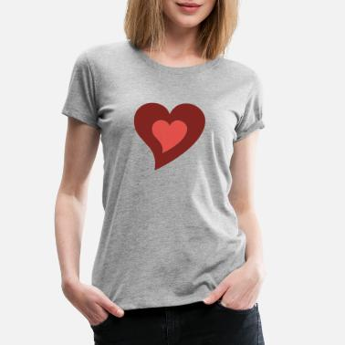 Print Two Hearts heart in heart - Women's Premium T-Shirt
