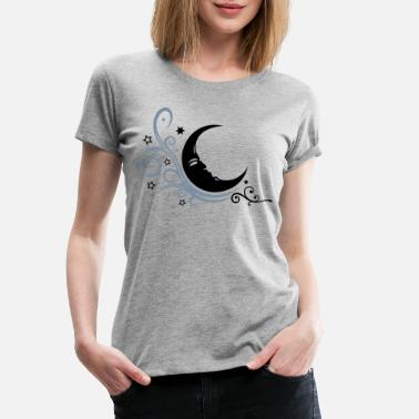 Half Moon Large moon with Tribal and stars. - Women's Premium T-Shirt