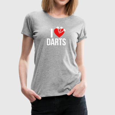 I LOVE DARTS WHITE - Frauen Premium T-Shirt