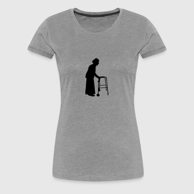 Granny with cane walking stick go Bock - Women's Premium T-Shirt