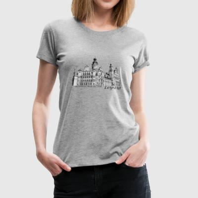 Leipzig City Hall med signaturen - Premium-T-shirt dam