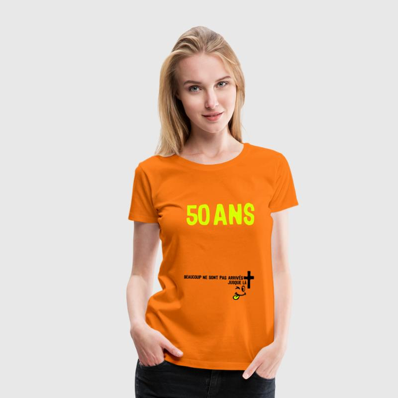 50 ans anniversaire tombe arrive smiley - Dame premium T-shirt