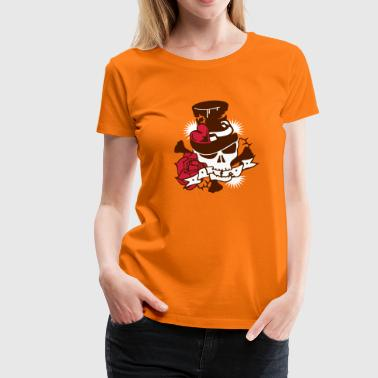 Skull with hat and rose - Women's Premium T-Shirt