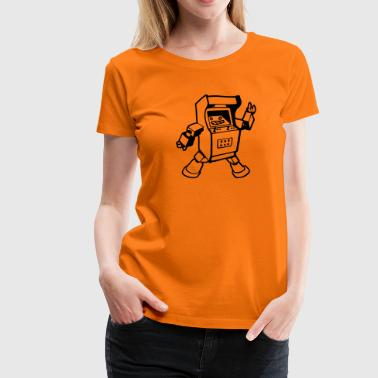retro arcade gamer robot - Women's Premium T-Shirt