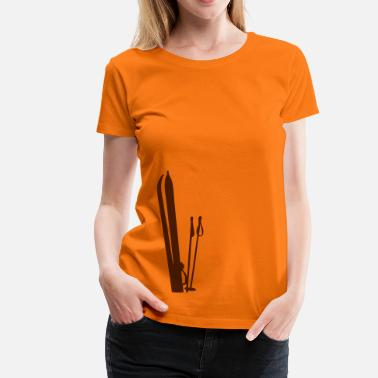 Ski Old wooden skis Ski T-shirt  - Women's Premium T-Shirt