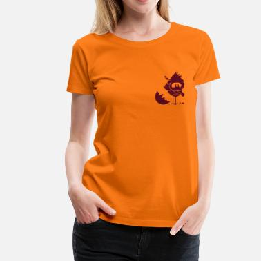Cock Ninja A newly hatched chick in Ninja outfit and a sword on his back - Women's Premium T-Shirt
