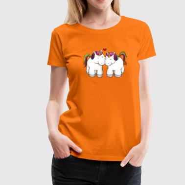 Loving comic unicorns rainbow - Women's Premium T-Shirt