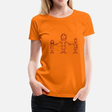 Tændstikmand Smuk family_mom_with_girl_and_boy_1c - Dame premium T-shirt