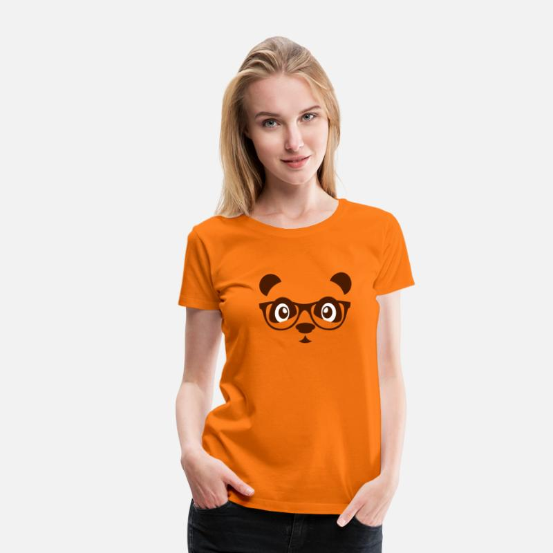 Nerd T-Shirts - Panda with glasses - nerd Panda bear - glasses - Women's Premium T-Shirt orange