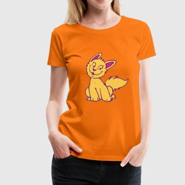 Smiling Cartoon Kitten by Cheerful Madness!! - Women's Premium T-Shirt