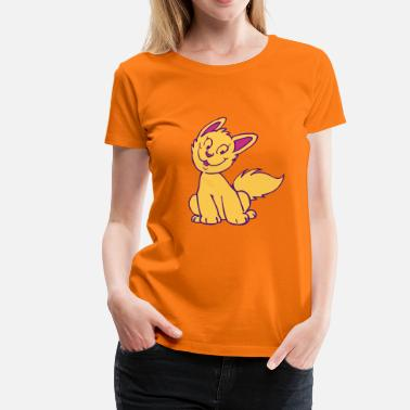 Impression Plot Chaton Cartoon Souriant par Cheerful Madness!! - T-shirt Premium Femme