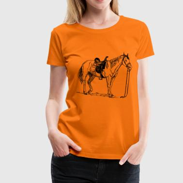 Cheval, poney, jument, étalon, - T-shirt Premium Femme