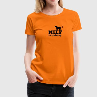Milf Cats milf in training with cougar big cat - Women's Premium T-Shirt