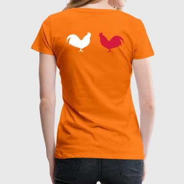 2 cocks roosters staring at each other - Women's Premium T-Shirt