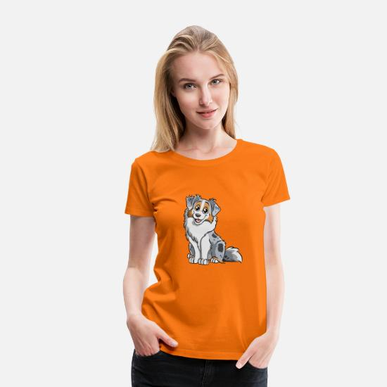 Shepherd T-Shirts - Blue Merle Australian Shepherd - Women's Premium T-Shirt orange