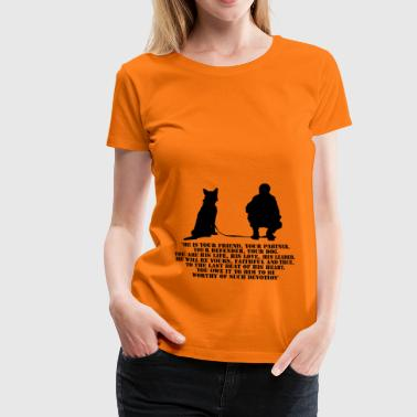 Dog and his handler - Premium T-skjorte for kvinner